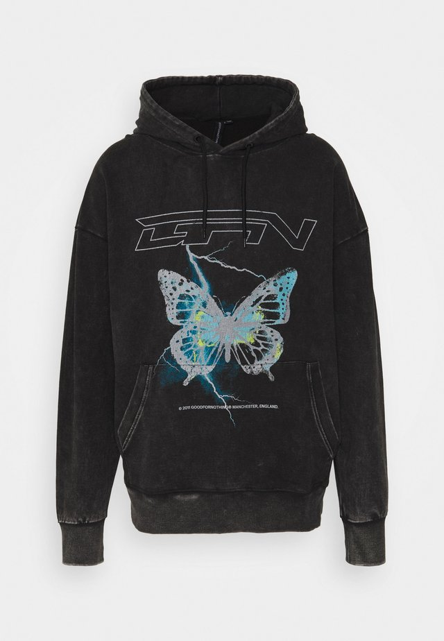 HOOD WITH ELECTRIC BUTTERFLY UNSIEX - Sweatshirt - black