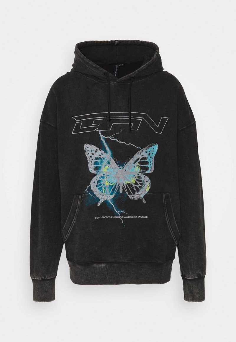 Good For Nothing - HOOD WITH ELECTRIC BUTTERFLY UNSIEX - Sweatshirt - black