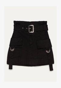 Bershka - MIT GÜRTEL  - A-line skirt - black - 4