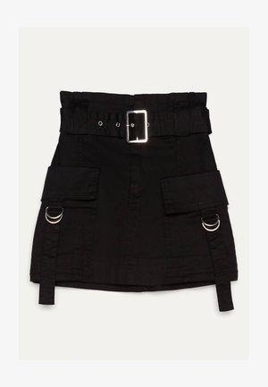 MIT GÜRTEL  - Áčková sukně - black