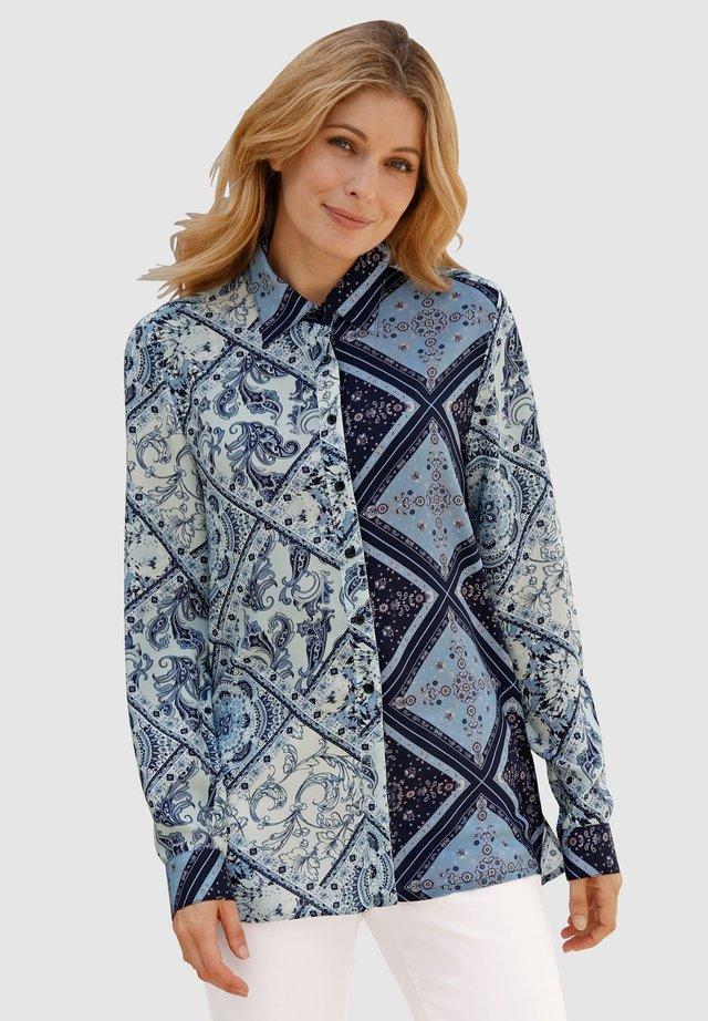 Button-down blouse - marineblau mintgrün wollweiß