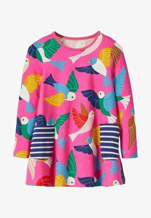 Long sleeved top - rosarot, vogel-/blumenmuster