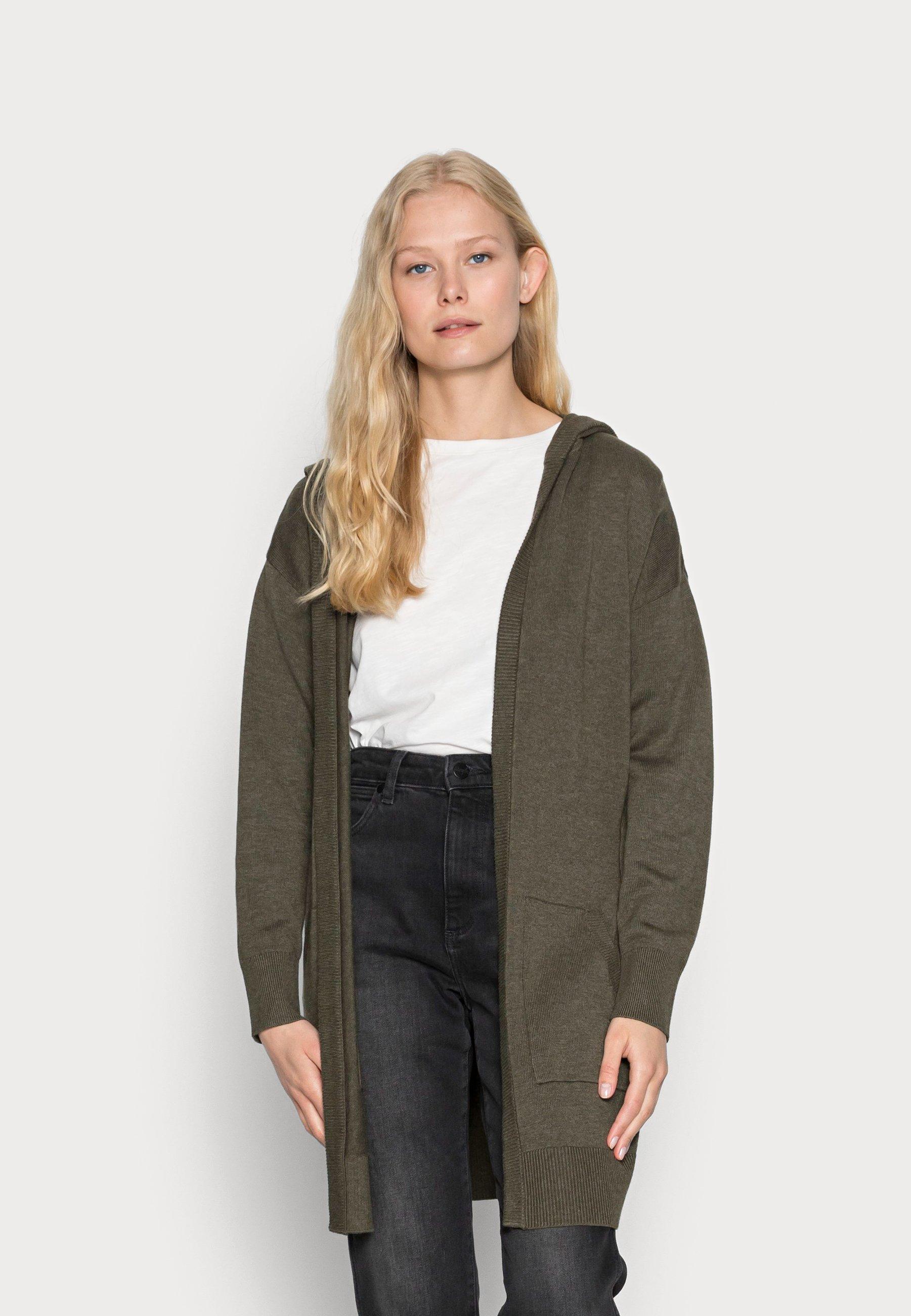 Women LONG HOODED - Cardigan - dark khaki