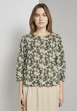 TOM TAILOR BLUSEN & SHIRTS VERSPIELTE BLUSE MIT ALLOVERPRINT - Blouse - small khaki floral design
