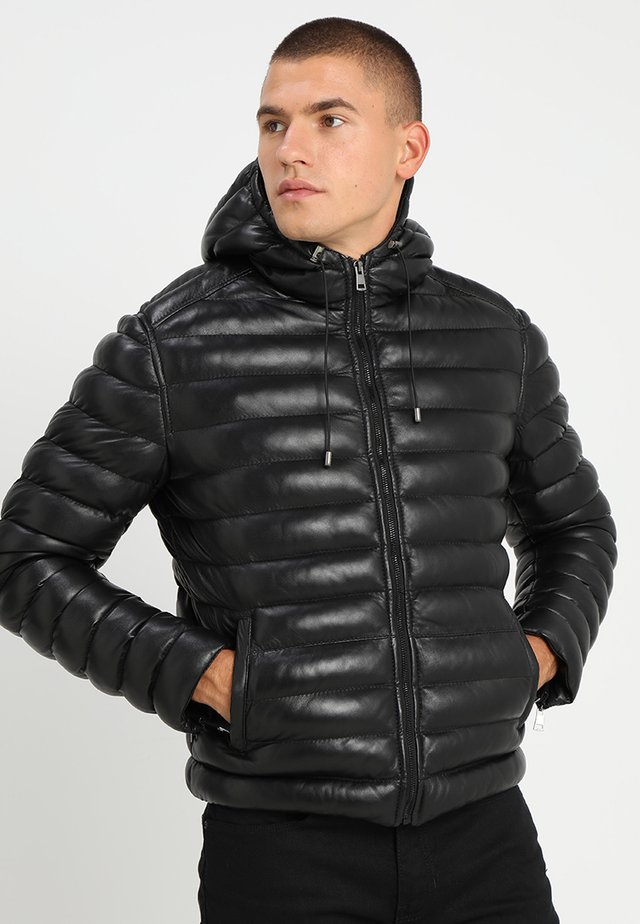 WARMER - Leather jacket - black