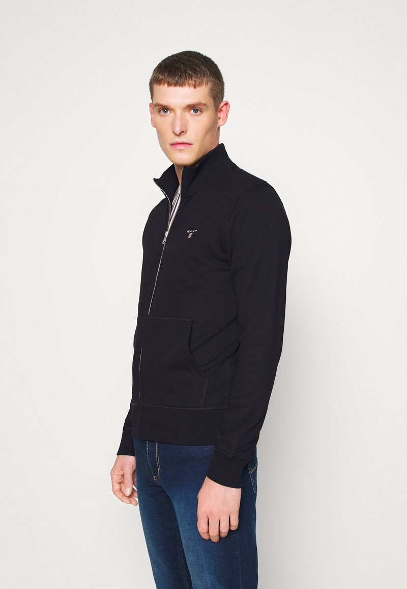 GANT - THE ORIGINAL FULL ZIP - Huvtröja med dragkedja - black
