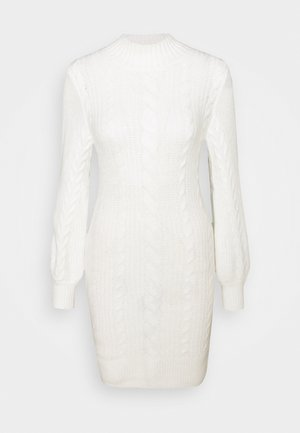 TURTLE NECK CABLE - Jumper dress - white