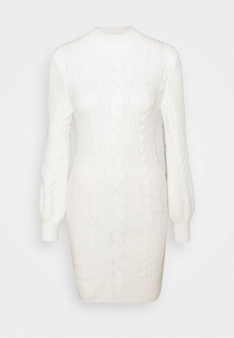 Abercrombie & Fitch - TURTLE NECK CABLE - Jumper dress - white