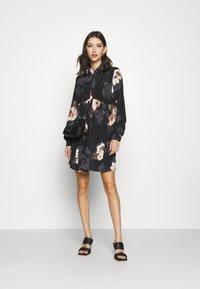 River Island - LISA SMOCK SHIRT DRESS  - Shirt dress - black - 1