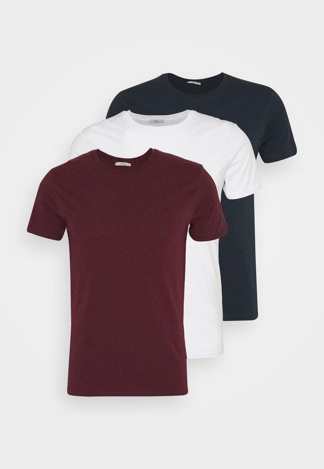 3 PACK MULTI - Basic T-shirt - navy/bordeaux/white