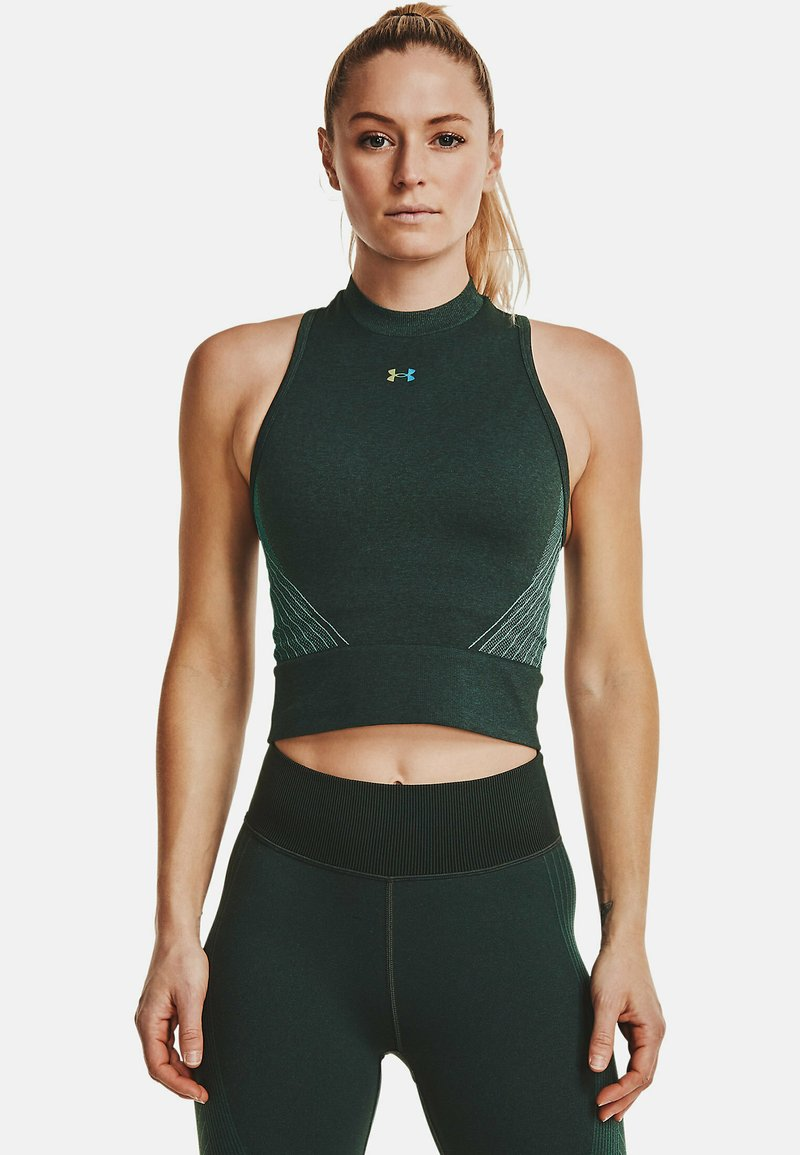 Under Armour - RUSH SEAMLESS CROP - Top - toddy green