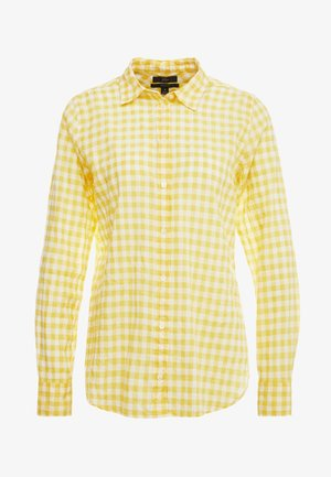 RELAXED CRINKLE GINGHAM - Button-down blouse -  yellow