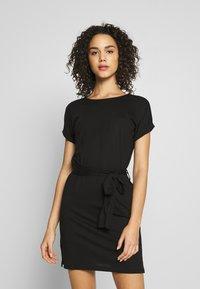 Even&Odd - BASIC - Short sleeves mini belted dress - Vestido ligero - black/black - 0
