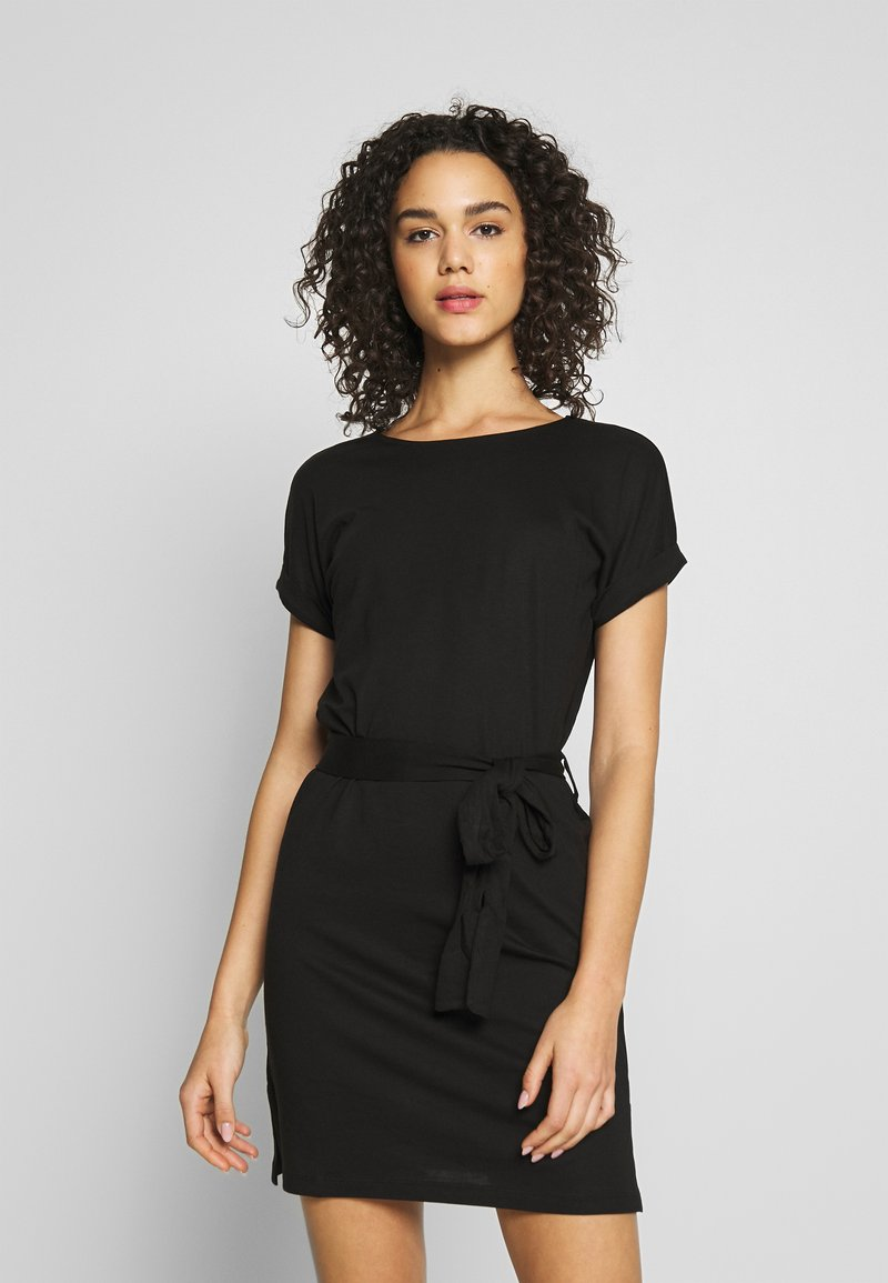 Even&Odd - BASIC - Short sleeves mini belted dress - Vestido ligero - black/black