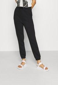 Even&Odd - HIGH WAIST LOOSE FIT SWEAT PANTS - Tracksuit bottoms - black - 0