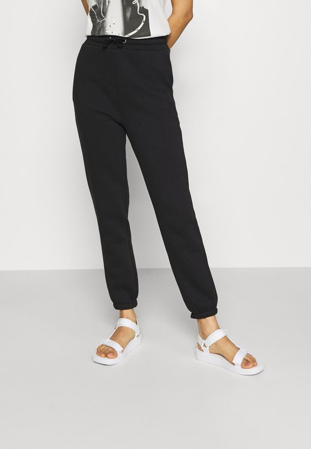HIGH WAIST LOOSE FIT SWEAT PANTS - Tracksuit bottoms - black