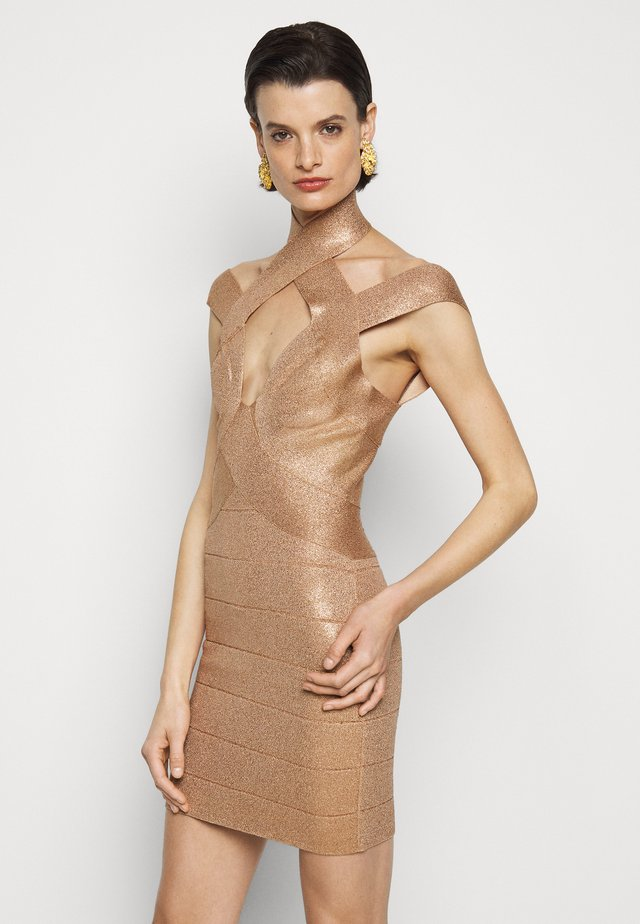 BANDAGE MINI DRESS - Vestido de cóctel - rose gold