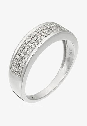 WHITE GOLD RING 9K CERTIFIED 69 DIAMONDS HSI 0.25 CT - Ring - silver