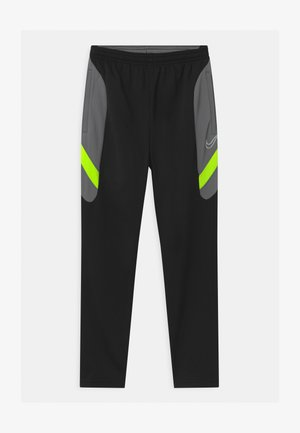 DRY ACADEMY - Tracksuit bottoms - black/dark smoke grey/volt/light smoke grey