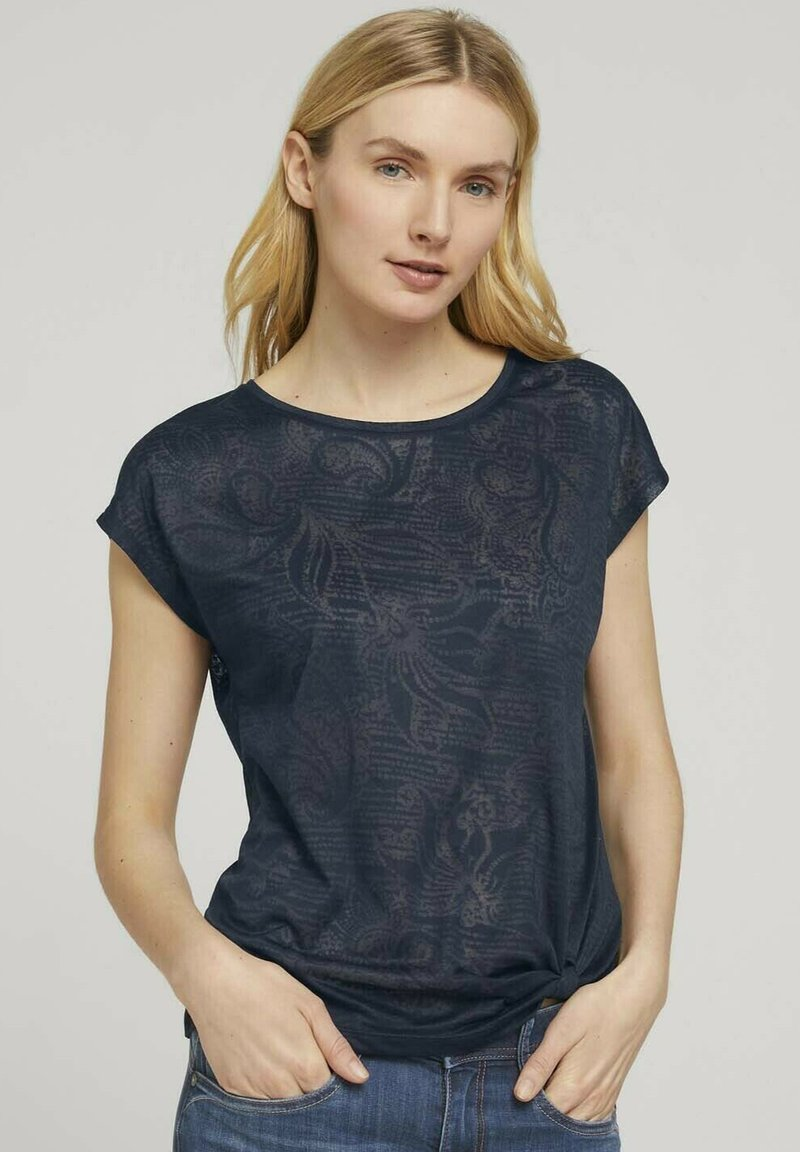 TOM TAILOR - MIT KNOTENDETAIL - T-shirt print - blue paisley design