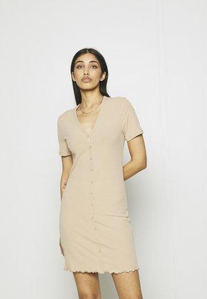 VMARIA SHORT BUTTON DRESS - Jersey dress - beige