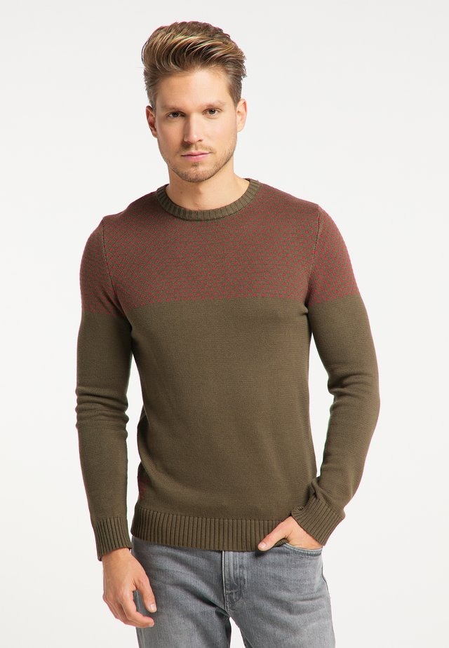 Sweater - oliv rot