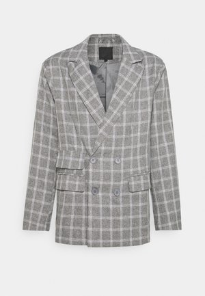 BREEZE DOUBLE BREASTED CHECK SUIT JACKET - Blazer - grey