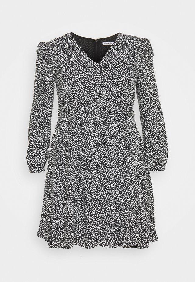 GEO PRINTED LONG SLEEVE SKATER DRESS - Korte jurk - black