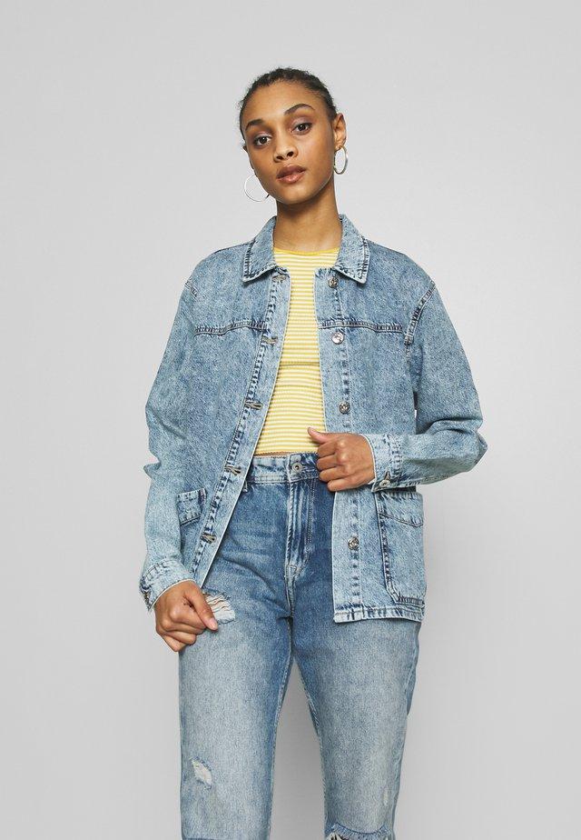 NMMELODIE CROP WORK - Denim jacket - light blue denim