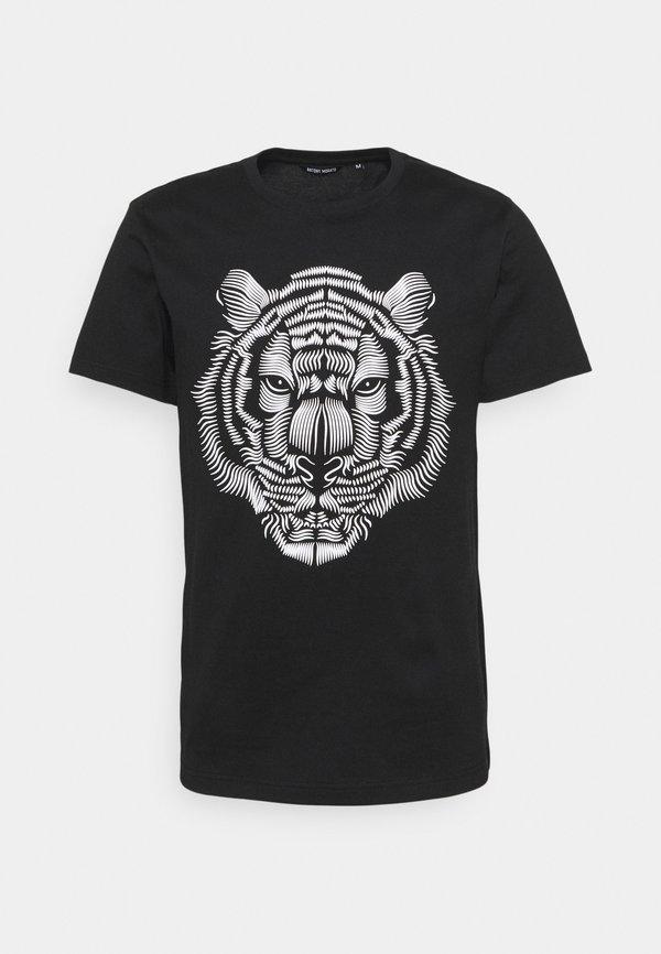 Antony Morato SLIM FIT WITH DOUBLE LAYER - T-shirt z nadrukiem - nero/czarny Odzież Męska QOTL