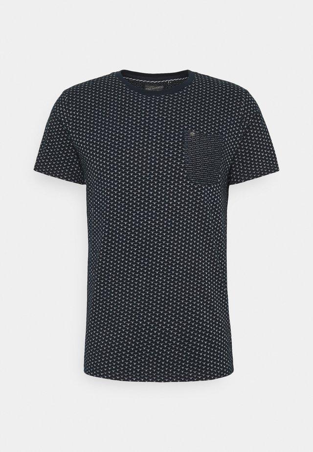 T-shirt z nadrukiem - dark navy/white