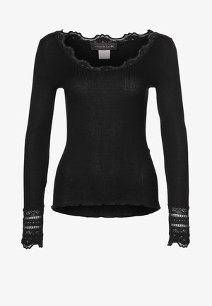 SILK-MIX T-SHIRT REGULAR LS W/WIDE LACE - Topper langermet - schwarz