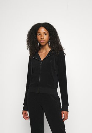 TOWELLING HOODIE - Zip-up sweatshirt - black