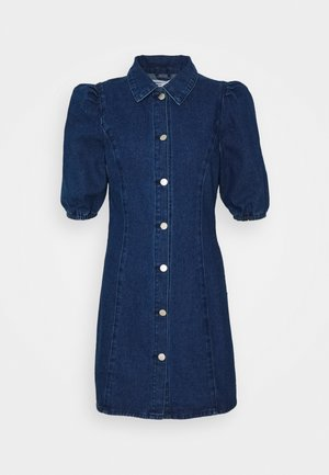 FITTED MINI DRESS WITH COLLAR AND PUFF 1/2 SLEEVES - Spijkerjurk - dark wash