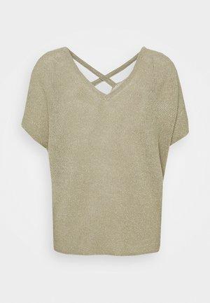 V NECK STRAP DETAIL - Basic T-shirt - olive tree