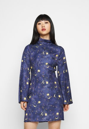 HIGH NECK MINI MOON AND STARS DRESS - Etuikjole - navy/multi