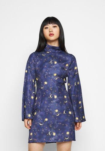 HIGH NECK MINI MOON AND STARS DRESS - Etuikjole - navy/multi