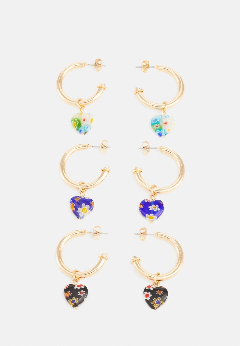 Pieces - PCHIERT EARRINGS 3 PACK - Øredobber - gold color/navy blue
