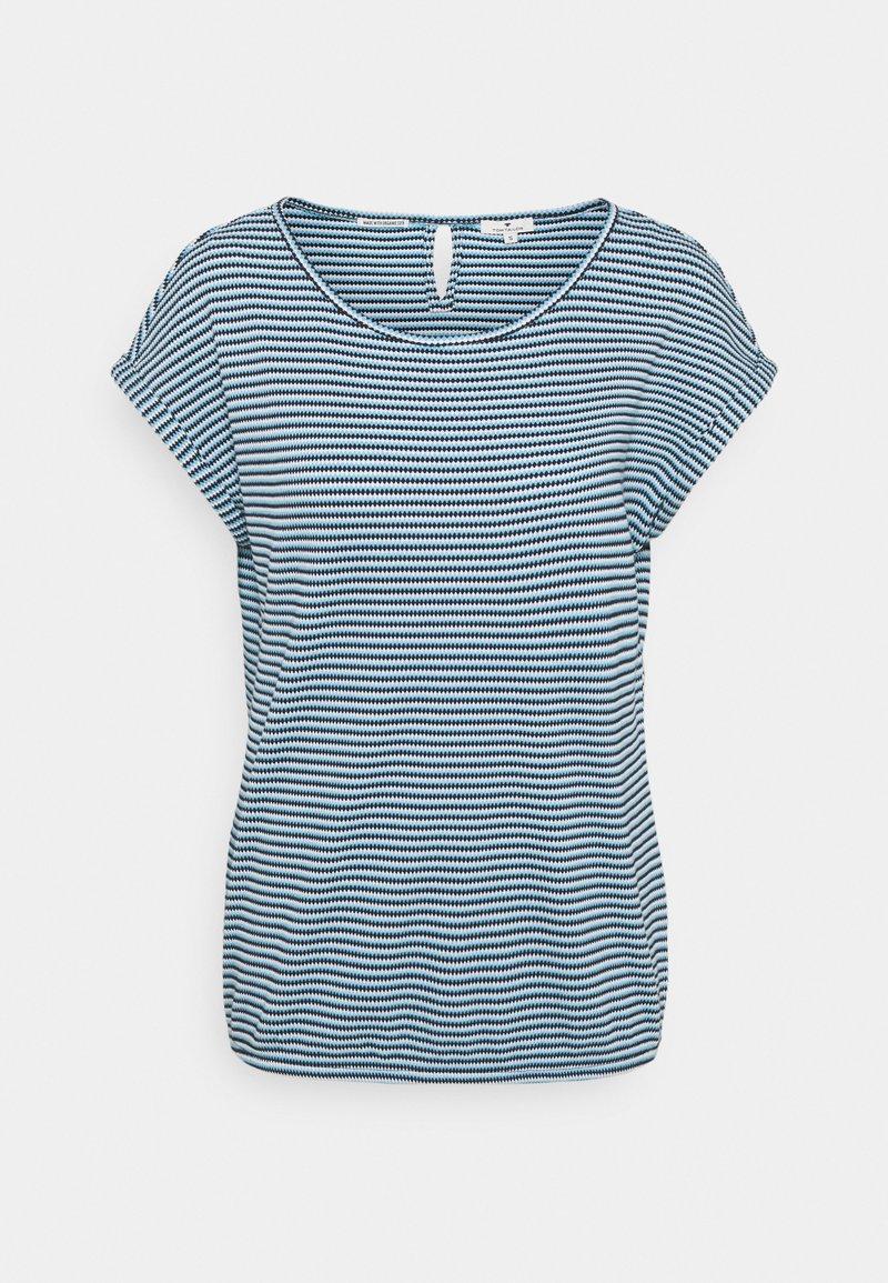 TOM TAILOR - STRUCTURE STRIPE - Print T-shirt - blue/navy/popcorn