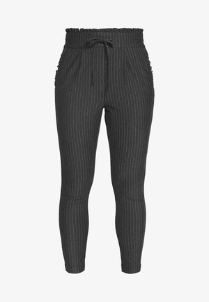 ONLPOPTRASH PINSTRIPE FRILL PANT - Bukse - dark grey melange