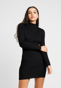 Missguided - BASIC HIGH NECK LONG SLEEVE JUMPER DRESS - Shift dress - black - 0
