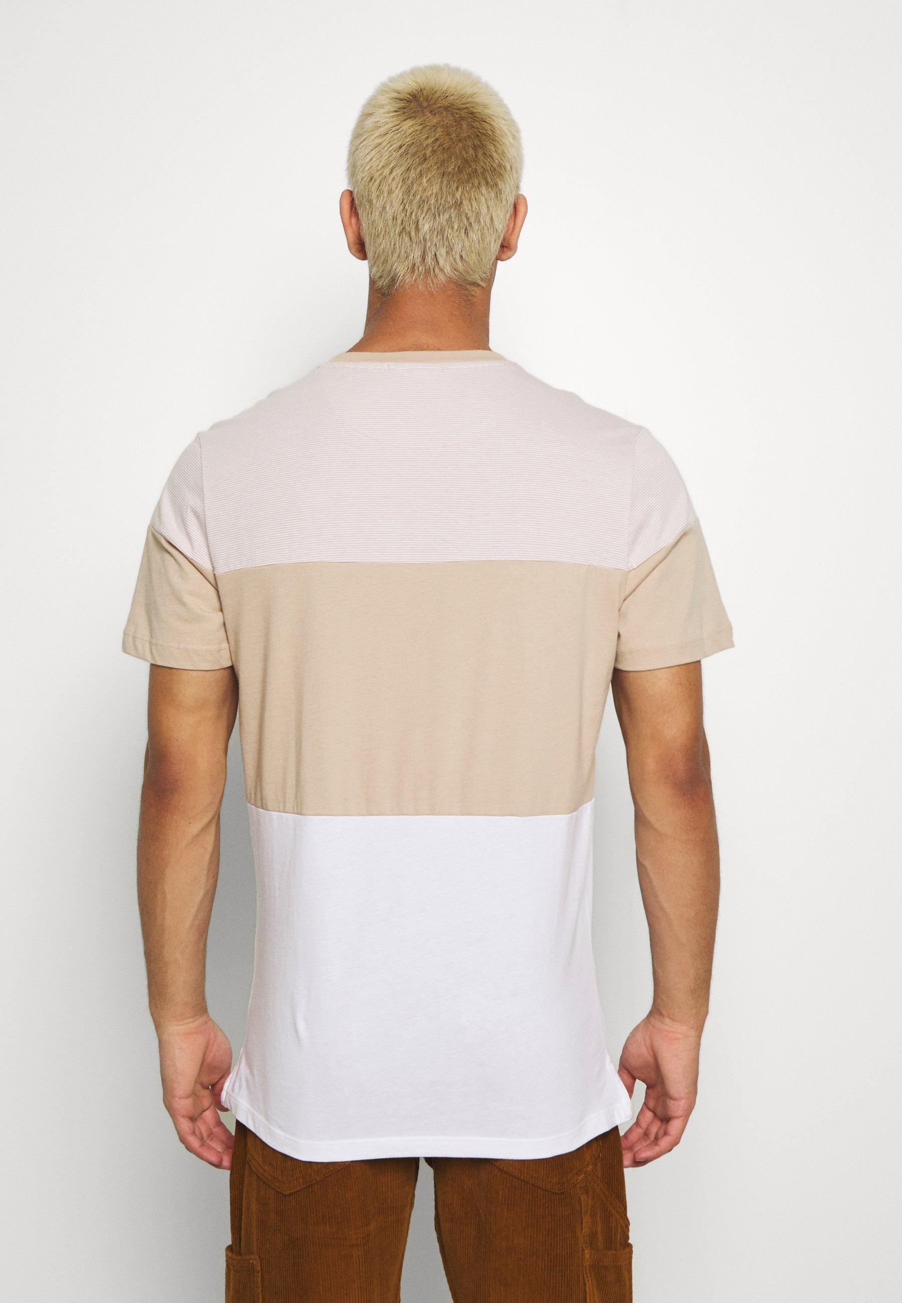 Jack & Jones PREMIUM JPRJORDAN TEE CREW NECK - Print T-shirt - oxford tan 7TwO8
