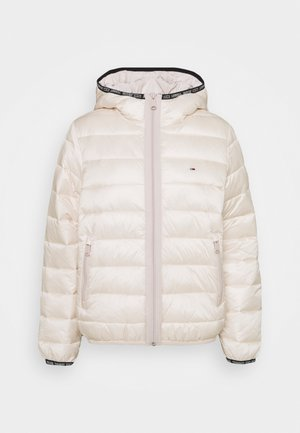 QUILTED TAPE HOODED JACKET - Winterjas - smooth stone