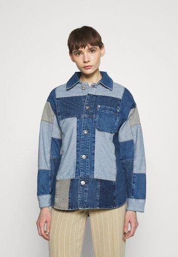 PATCHWORK OVERSHIRT - Short coat - denim