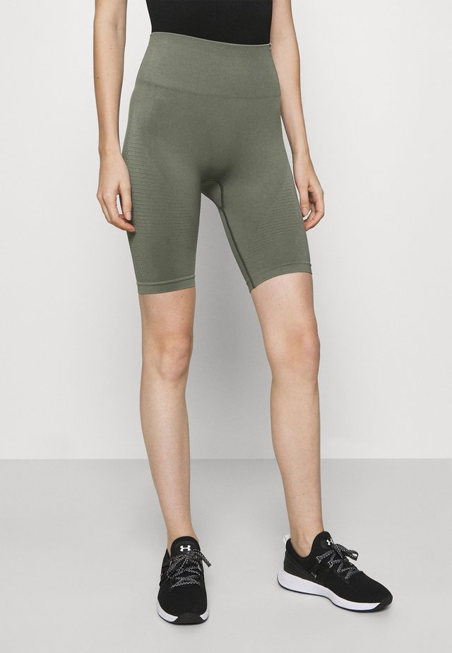 SEAMLESS SHORTS BLOOM - Urheilushortsit - olive