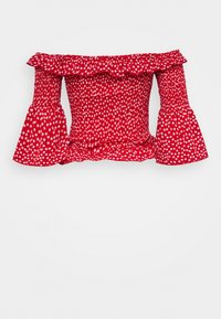 Missguided Tall - DITSY SHIRRED BARDOT - Blouse - red - 1