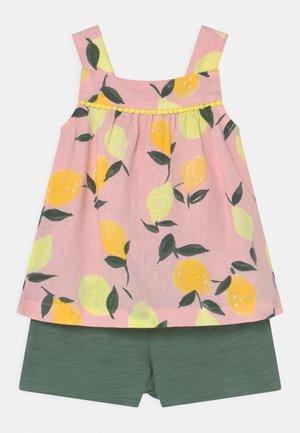 2-Piece Lemon Linen Tank & Slub Jersey Short Set - Shorts - light pink/khaki