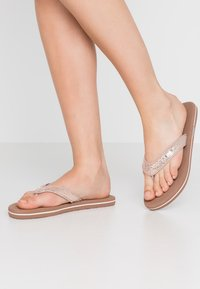 Esprit - GLITTER THONGS - T-bar sandals - cream beige - 0