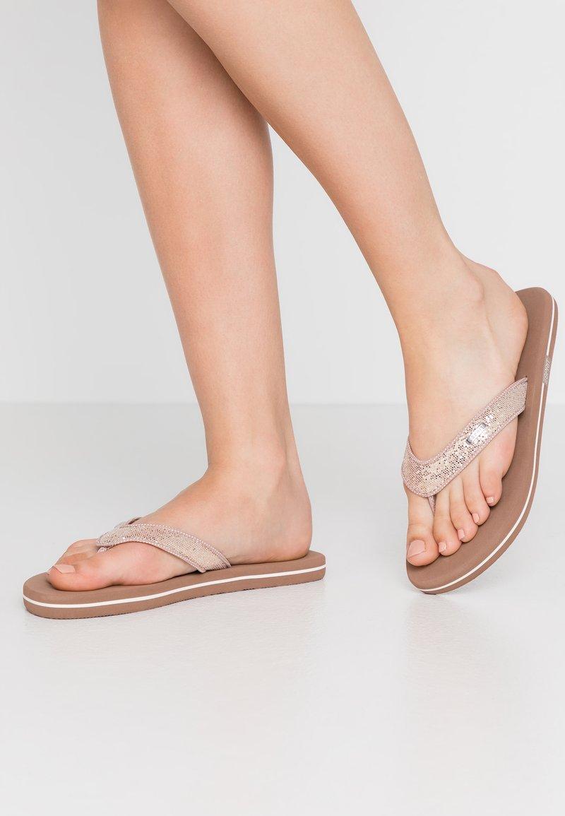 Esprit - GLITTER THONGS - T-bar sandals - cream beige
