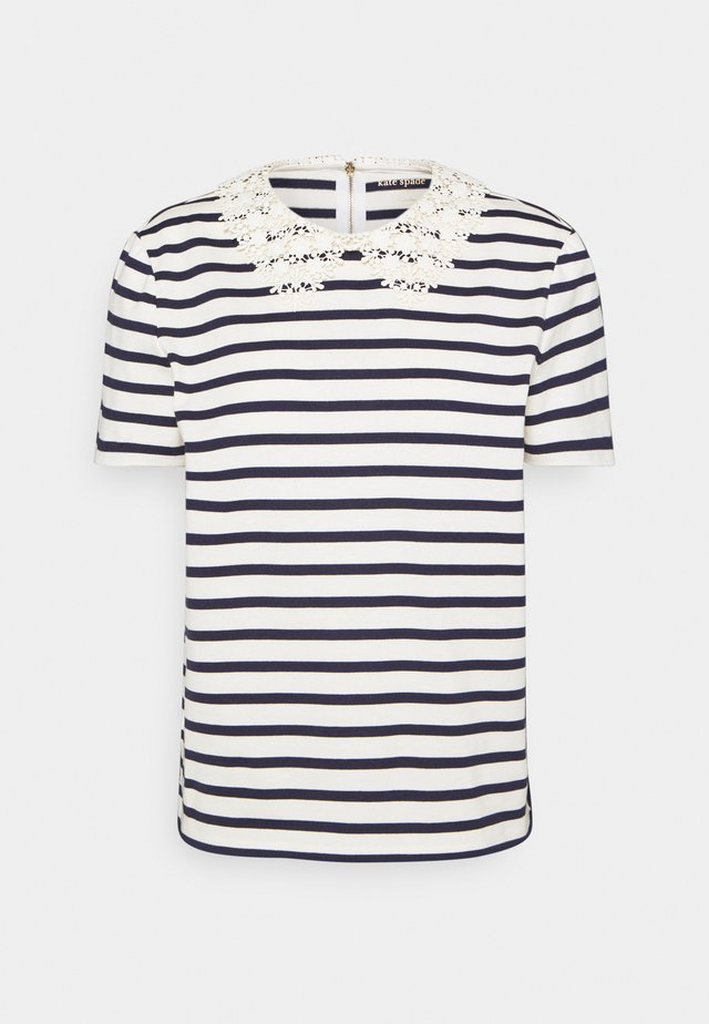 STRIPED COLLAR TEE - Triko s potiskem - cream